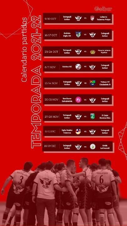 Calendario de partidos de esta temporada GOIBAR