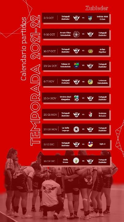 Calendario Partidos Temporada ZUBIEDER